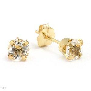 Topaz Stud Earrings 14K Yellow Gold