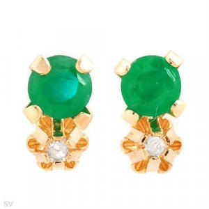 Diamond & Emerald Stud Earrings 10K Yellow Gold