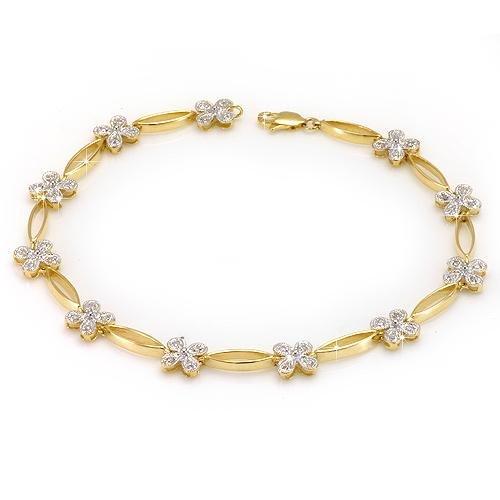 Floral Diamond Tennis Bracelet 10K Yellow Gold