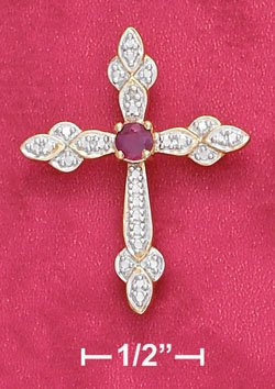 Sterling Silver Ruby & Illusion Setting Cross Pendant