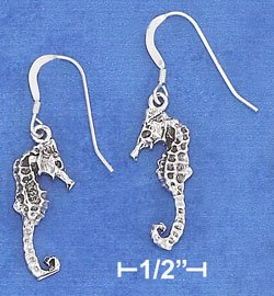 Sterling Silver Antiqued Seahorse French Wire Earrings