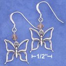 Sterling Silver Butterfly w/Orange Swarovski Xtal French Wire Earrings
