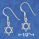 Sterling Silver Dainty Star of David French Wire Earrings