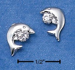 Sterling Silver Dolphin Post Earrings w/Cubic Zirconia