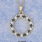 Sterling Silver Sapphire & Illusion Setting Wreath Pendant