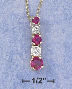 Sterling Silver Synthetic Ruby & Cubic Zirconia Pendant
