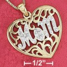 "Sterling Silver Vermeil ""Mom"" Filigree Heart Pendant"