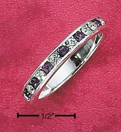 Sterling Silver Cubic Zirconia & Synthetic Amethyst Eternity Band