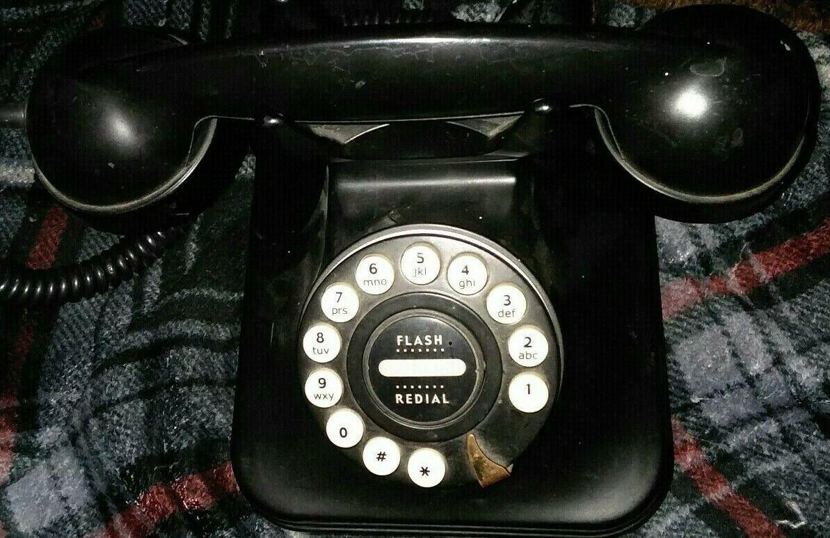 Telephone Pottery Barn Grand Corded Phone Black Vintage 841-040 Flash Redial