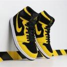 Men's Air Jordan 1 Mid Retro Black Yellow Shoes