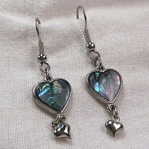 Silver Abalone double heart dangle earrings blue green pink shell