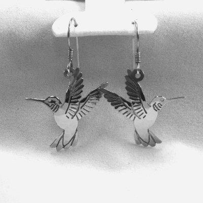 Wild Bryde Hummingbirds earrings designer signed vintage bird rhodium