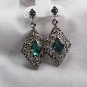 Diamond shaped abalone and marcasite filigree silver tone earrings
