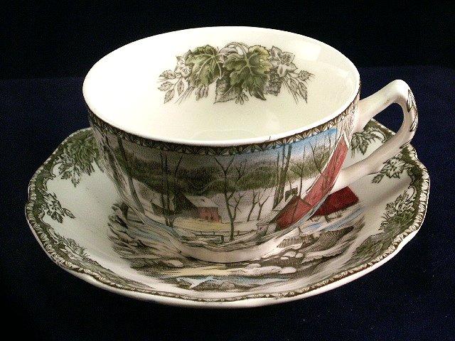 Johnson Bros Friendly Village tea cup saucer England brown backstamp Ice House