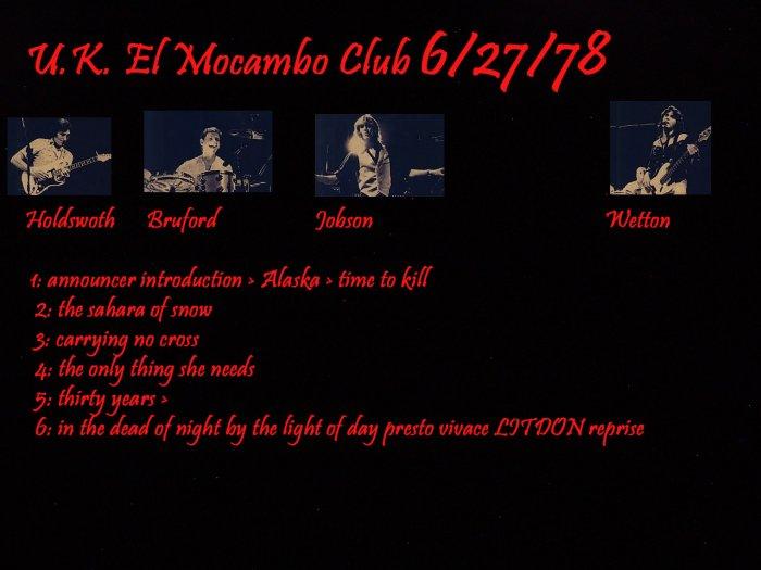 U.K.  El Mocambo Club 7/27/78