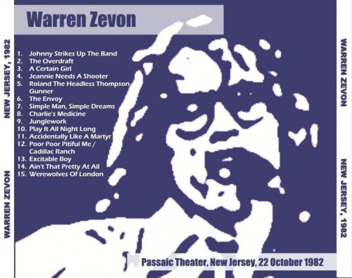 Warren Zevon Capitol Theatre Passaic NJ 10/22/82