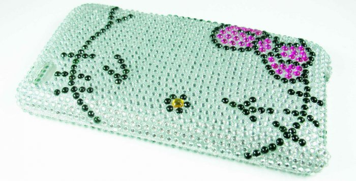 Silver Hello Kitty Bling Crystal Case Cover for Apple iPod Touch 4 iTouch 4