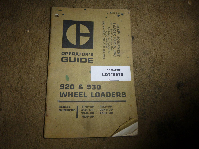 Caterpillar 920, 930 Wheel Loader Operators Manual