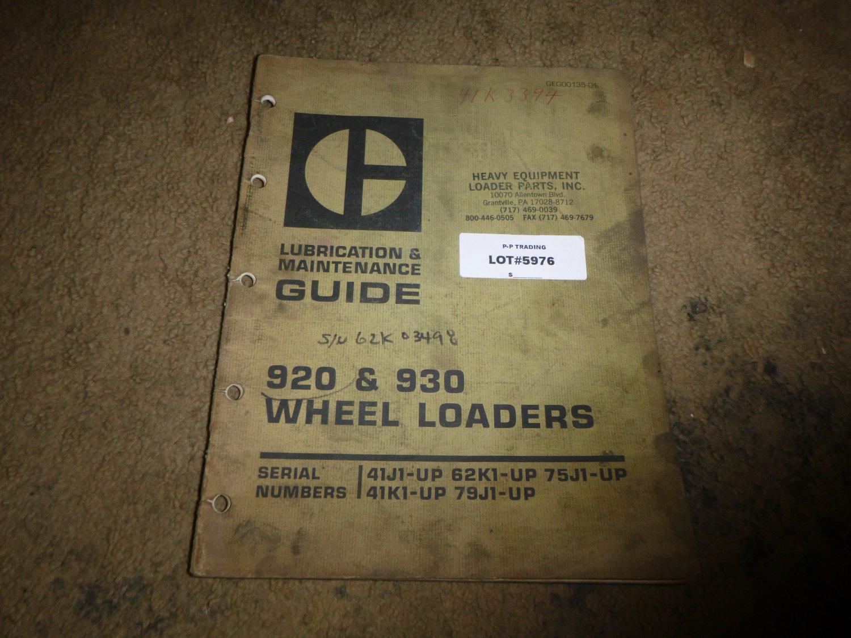 Caterpillar 920, 930 Wheel Loader Lube & Maintenance Manual