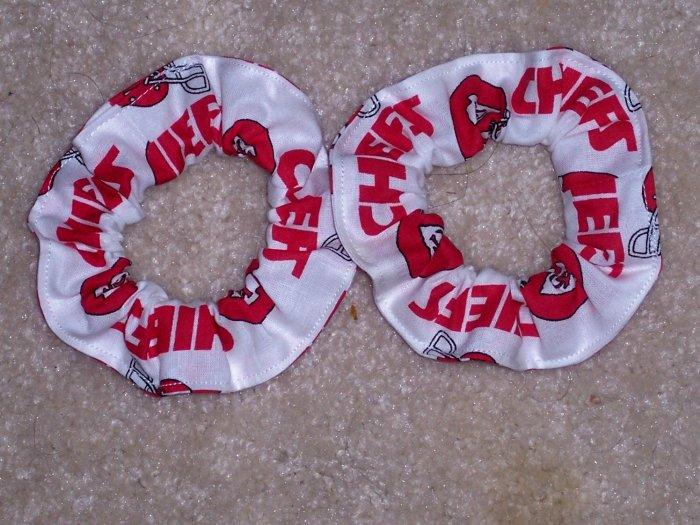 2 Kansas City Chiefs Football Fabric Mini Hair Scrunchies Scrunchie NFL