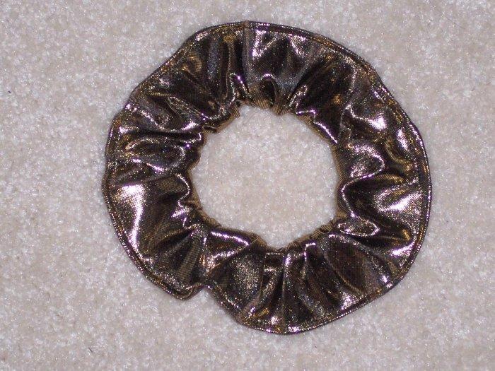 Gold Metallic Glitter Knit Fabric Hair Scrunchie Scrunchies