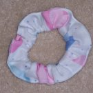 Pink Blue Purple Hearts White Fabric Hair Scrunchie Scrunchies by Sherry