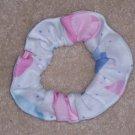Pink Blue Purple Hearts White Fabric Hair Scrunchie Scrunchies