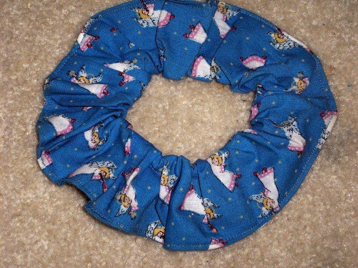 Little Angels on Blue Fabric Hair Scrunchie Scrunchie