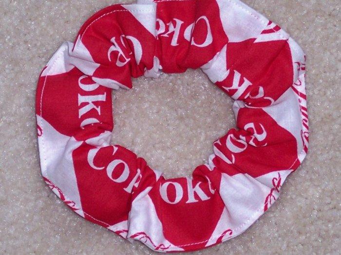 Coke Coca Cola Red & White Fabric hair Scrunchie Scrunchies