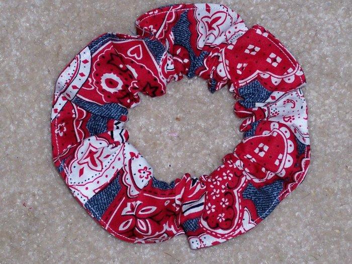 Demin Red Hearts Bandana Print Fabric hair Scrunchie Scrunchies