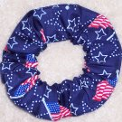Navy Flags & Stars Patriotic Fabric Hair Scrunchie Scrunchies