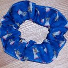 Angels with Pink on Blue Fabric Hair Scrunchie Scrunchies