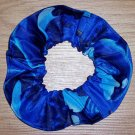 Dolphins and Whales Blue Fabric Hair Scrunchie Scrunchies by Sherry