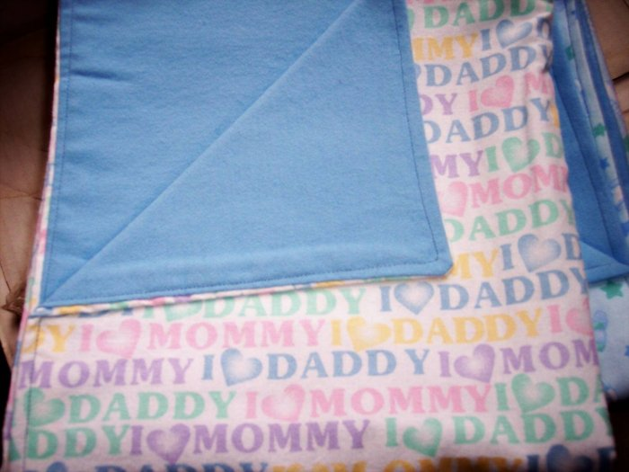I Love Mommy I Love Daddy Baby Boy Double Flannel Crib Blanket