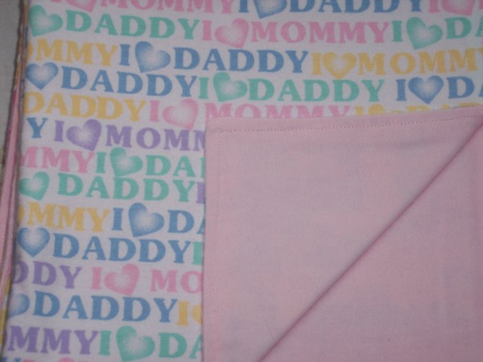 I Love Mommy I Love Daddy Baby Girl Double Flannel Crib Blanket
