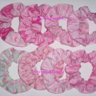 50 Breast Cancer Awareness Pink Ribbon Fabric Hair Scrunchies Scrunchie