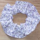 Purple Floral Flowers Fabric Hair Scrunchie Scrunchies