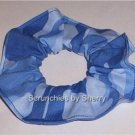 Blue Camo Fabric Hair Scrunchie Scrunchies Ties