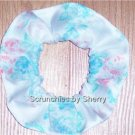 Pink & Blue Floral Fabric Hair Scrunchie Scrunchies