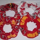4 Kansas City Chiefs Fabric Hair Scrunchies Ties NFL