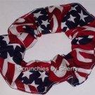 Flags & Stars  Fabric Hair Scrunchie Scrunchies