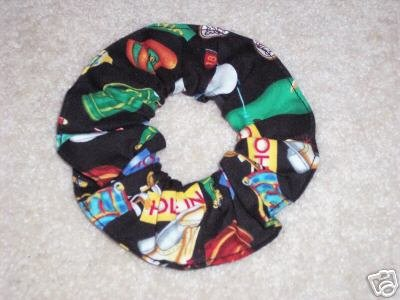 Golf Balls Tees Clubs Fabric Hair Scrunchie Scrunchies