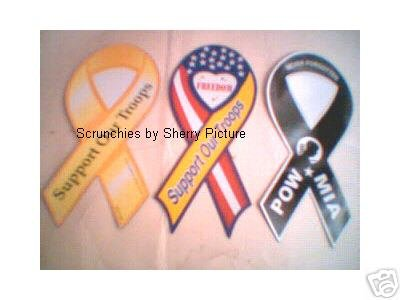 Set of 3 Yellow, Black, Flag Support our Troops Magnets