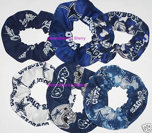 8 Dallas Cowboys Fabric Hair Scrunchies Ties NFL Camo Tye-Dyed Glow White Blue