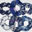 7 Dallas Cowboys Fabric Hair Scrunchies Ties NFL Camo Tye-Dyed Glow White Blue