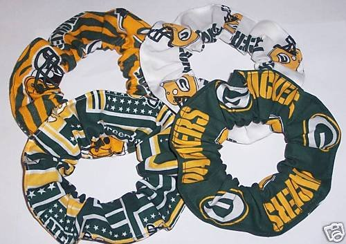 4 Green Bay Packers Fabric Hair Scrunchies Ties NFL