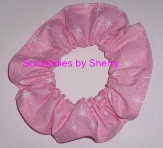 Pink Stars Glitter Fabric Hair Ties  Scrunchie