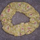 Yellow Flowers Print  Fabric Hair Scrunchie Scrunchies