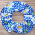 White Daisies Daisy Print Blue Fabric Hair Scrunchie