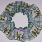 Fish Fishing Plaid Stripes Fabric Hair Ties  Scrunchie